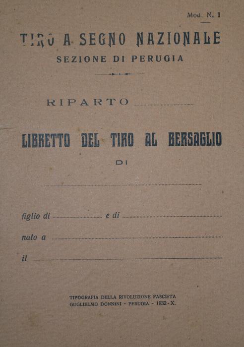 Perugia, 1932 – Libretto del tiro al bersaglio