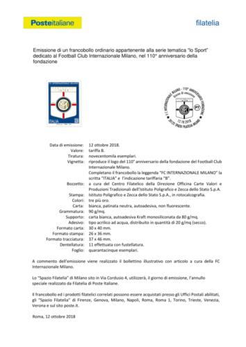 Foglio del francobollo Internazionale Football Club 1908 - Milano